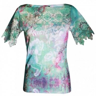 Women's Short Sleeve Lace Detail Top