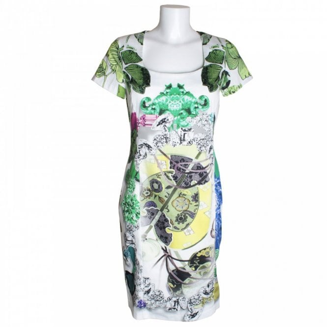 Fehu Women's Short Sleeve Leaf Print Dress
