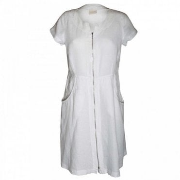 Women's Short Sleeve Linen Zip Dress