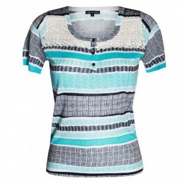 Women's Short Sleeve Multi Print Top