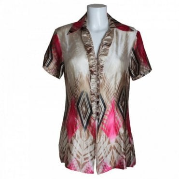 Women's Short Sleeve Printed Blouse