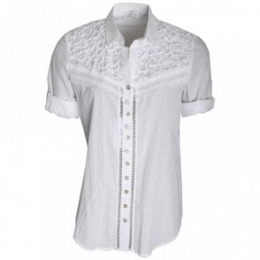 Women's Short Sleeve Ribbon Detail Shirt