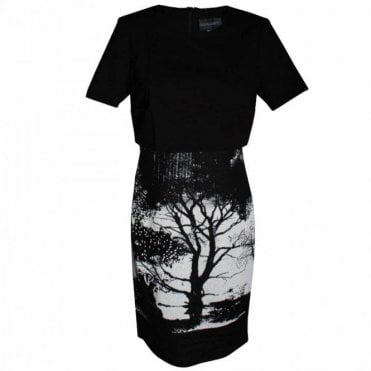 Women's Short Sleeve Tree Print Dress