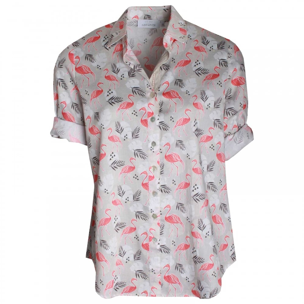 68ff8dba Women's Shortsleeve Flamingo Print Shirt By Just White At Walk In Style