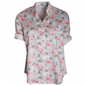 Women's Shortsleeve Flamingo Print Shirt