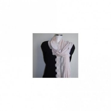 Women's Silk And Cotton Lace Trim Scarf