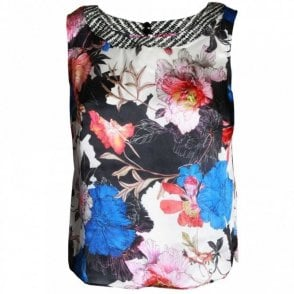 Women's Silk Sleeveless Floral Print Top