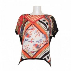 Women's Silky Drop Sleeve Printed Top