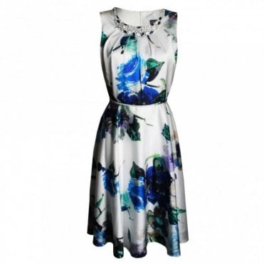 Women's Sleeveless Floral A Line Dress