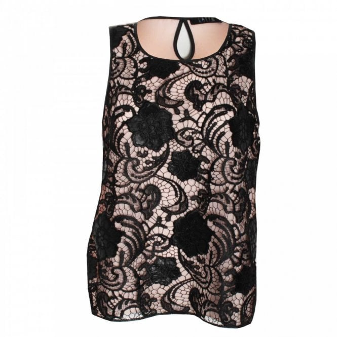 Latte Women's Sleeveless Lace Panel Top