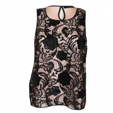 Women's Sleeveless Lace Panel Top