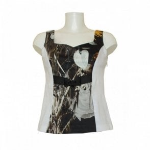 Sally New York Women's Sleeveless Panel Print Top