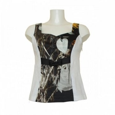 Women's Sleeveless Panel Print Top