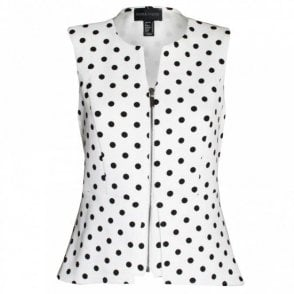 Women's Sleeveless Spotted Zip-up Top