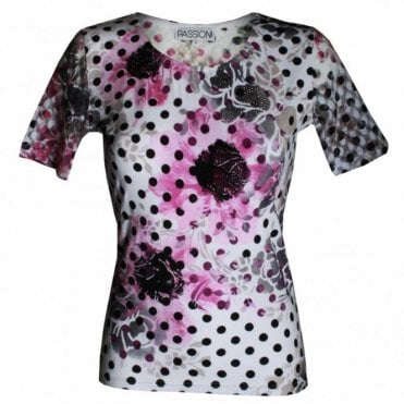 Women's Spot Print Short Sleeve Top