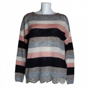 Women's Stripe Knit Jumper With Lace Hem