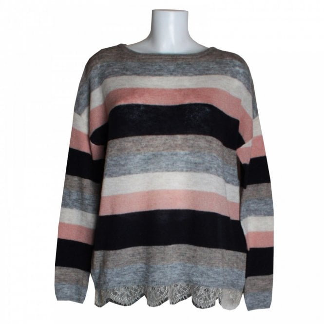 Oui Women's Stripe Knit Jumper With Lace Hem