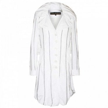 Women's Striped Large Collar Coat