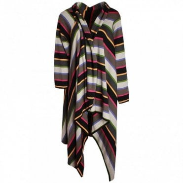 Women's Stripped Long Knitted Cardigan