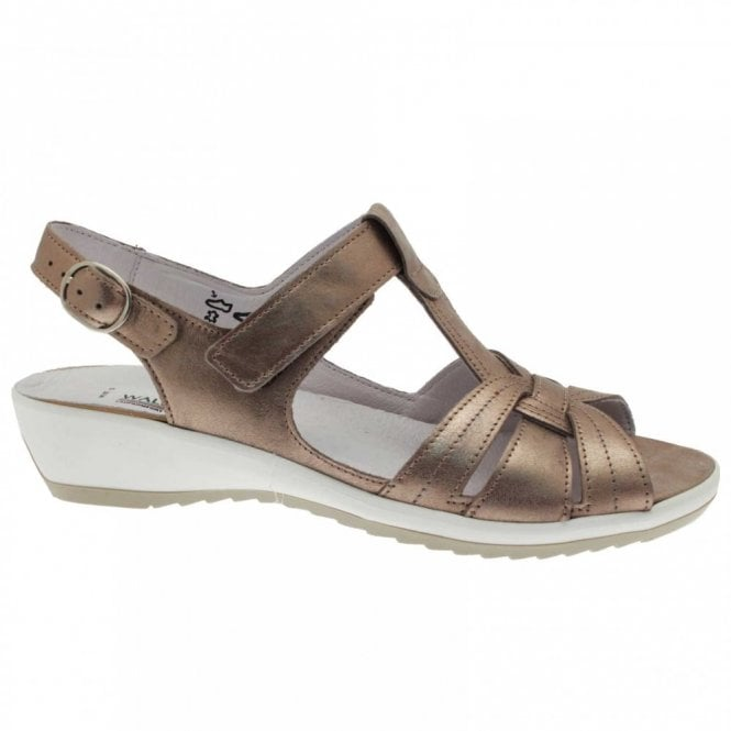 Waldlaufer Women's T- Bar Sandal With Velcro Strap