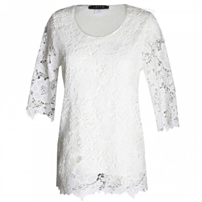 Latte Women's Three Quarter Sleeve Lace Top
