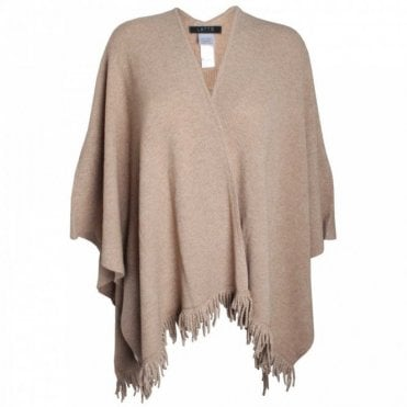 Wool And Cashmere Knit Fringe Edge Cape
