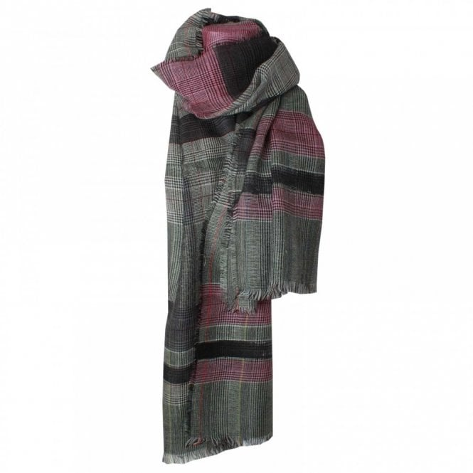Fraas Wool Check Long Scarf