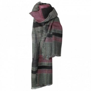 Wool Check Long Scarf