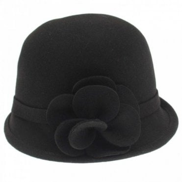 Failsworth Wool Cloche Hat With 3d Flower Detail