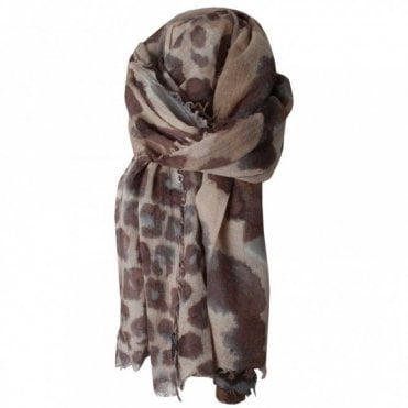 Wool Lepoard Print Long Scarf