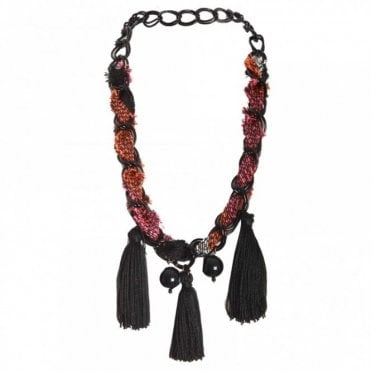 Woven Fabric And Tassle Necklace