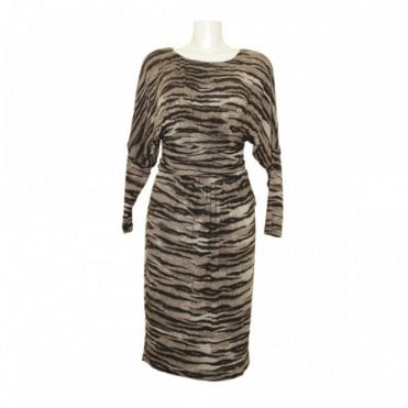 Zebra Print Batwing Ruched Detail Dress