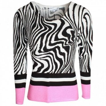 Passioni Zebra Print Fine Knit Long Sleeve Jumper