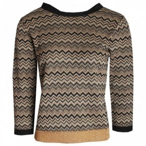 Latte Ziz Zag Design Long Sleeve Knit Jumper