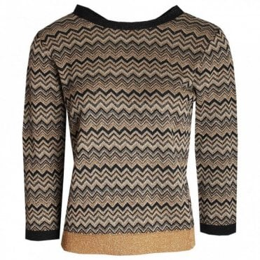 Ziz Zag Design Long Sleeve Knit Jumper